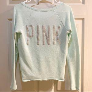 PINK VICTORIA'S SECRET Mint Silver Logo Sweater XS